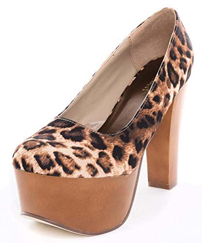 Amazon.com | Leopard Chunky Heels Platform Pump Women's Rockabilly ...