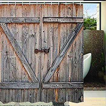 Rustic Country Barn Wood Door Bath Shower Curtain, YIGER Mildew Resistant Waterproof Old Wooden Garage Door Digital Printing Polyester Antique Theme with Adjustable Hook 70.86×70.86 Inch
