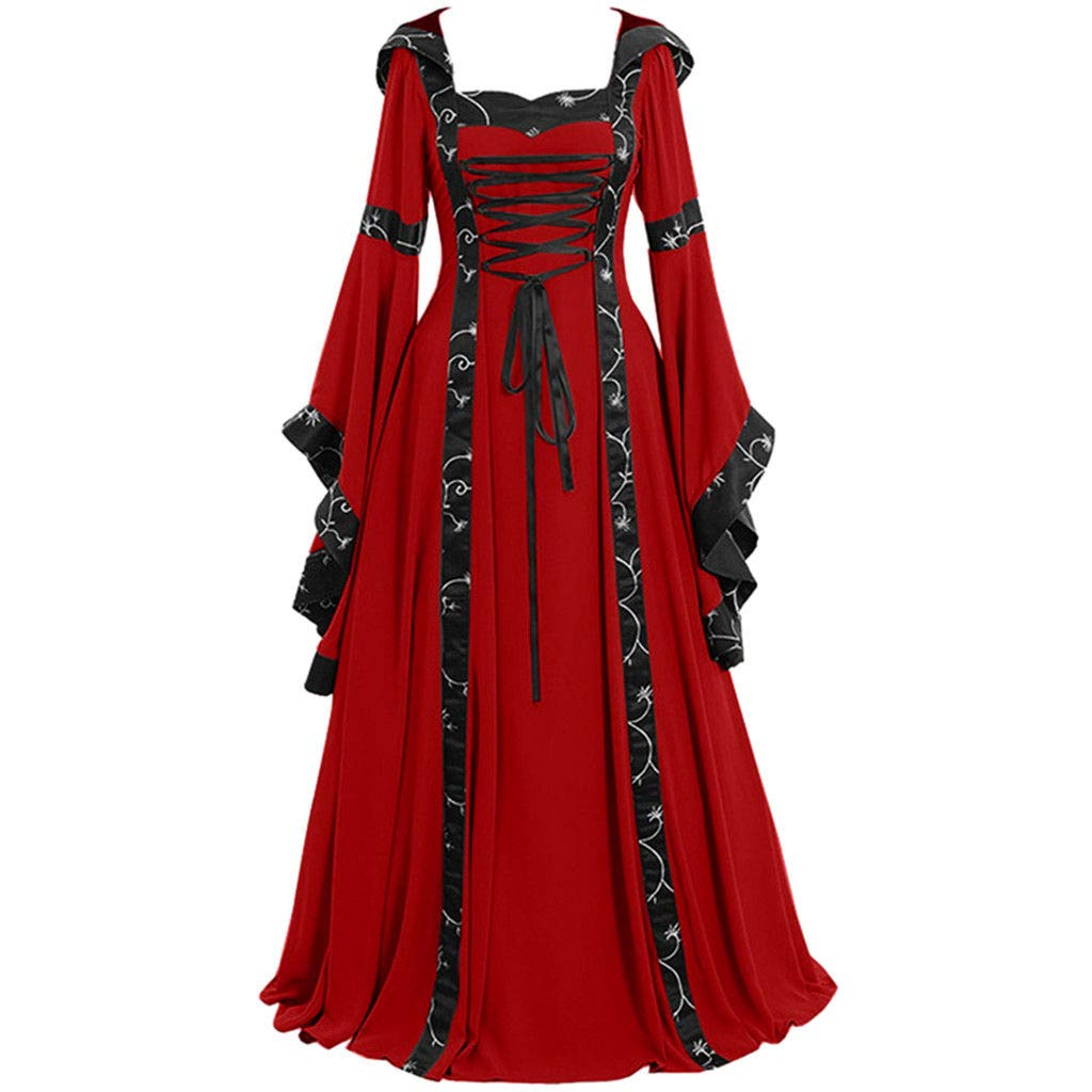 Women Vintage Hooded Dress Medievl Patchwork Lace up Renaissance Gothic Costoms Gothic Cosplay Clothes Gowns (L, Red)