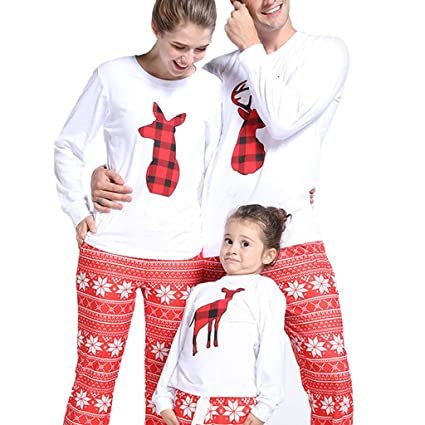 ed98beef7d WensLTD Family Christmas Pajamas Set Matching Women Men Kids PJs Christmas  Elk Print Tops Bottoms Sleepwear