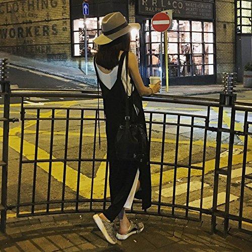 de Sangle Split pices M Femme Veste Longue Une t Jupe Deux Couleur l'image Robe Perdre Veste Noire Robe Robes Robe MiGMV WnSqPHFS