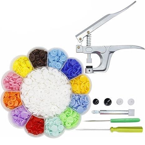 360pcs 24 colores T5 Snap botones Punch con cierre Snap alicates para DIY Costura Ropa herramientas