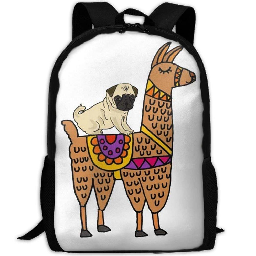 malsjk8かわいいパグ犬Riding on LlamaスクールBookbagsティーン、バックパックカレッジバッグYoung People Daypack   B07G2CSGQH