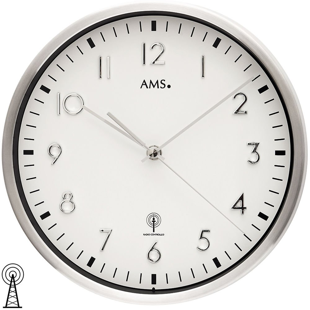 AMS - Funk - Wanduhr - Metallgehäuse Metallgehäuse Metallgehäuse aus gebürstetem Aluminium, weißes Zifferblatt, Mineralglas, Durchmesser 35 cm 4a2132
