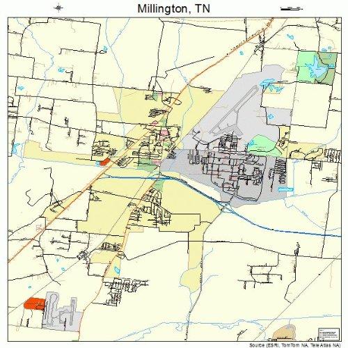 Amazon.com: Large Street & Road Map of Millington, Tennessee TN ...