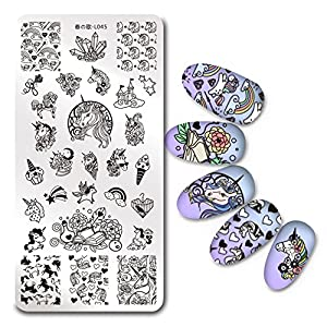 BORN PRETTY 1Pc Rectangle Stamping Plate Unicorn Pattern Manicure Nail Art Plate Harunouta L045