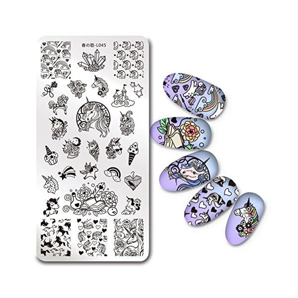 BORN PRETTY 1Pc Rectangle Stamping Plate Unicorn Pattern Manicure Nail Art Plate Harunouta L045 3