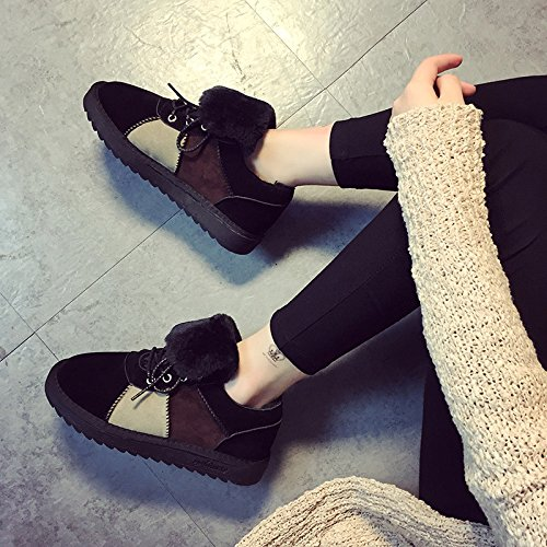 NSXZ Winter new suede round head with plush thick snow boots ankle boots SPELL-120W 00eGkk8NZ