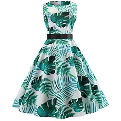 Women Dress Godathe Women Retro Print Bodycon Sleeveless Evening Party Ball Swing Dress S-2XL