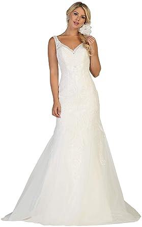 Formal Dress Shops Inc FDS7643 Bridal Designer Evening Formal Gown (Ivory, 4)