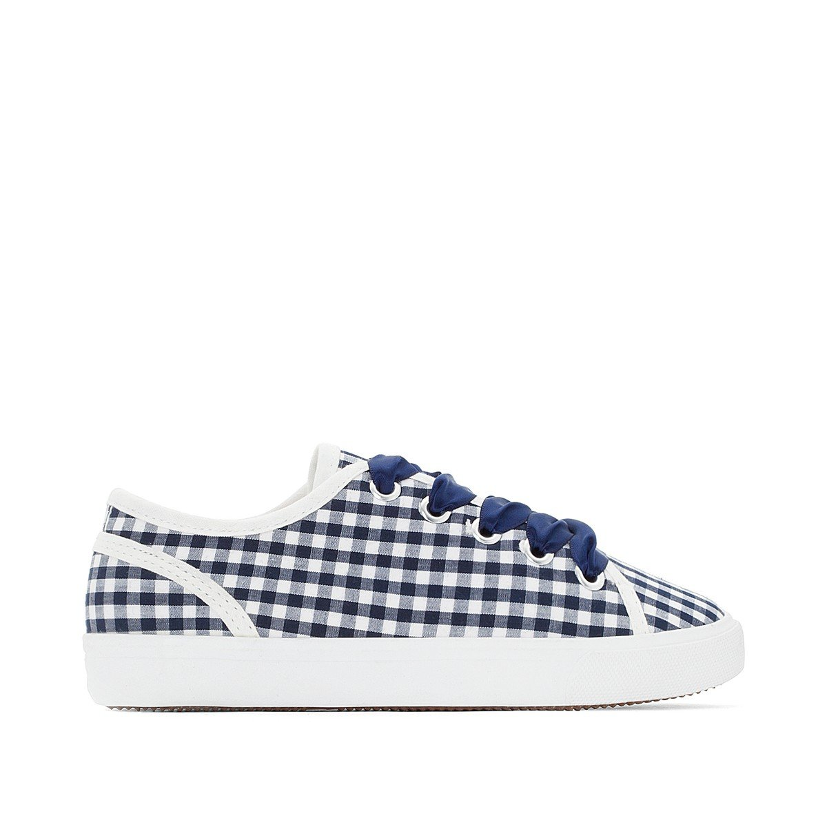 La Redoute Collections Big Girls Gingham Low Top Trainers Blue Size 35 (2.5 to 3)