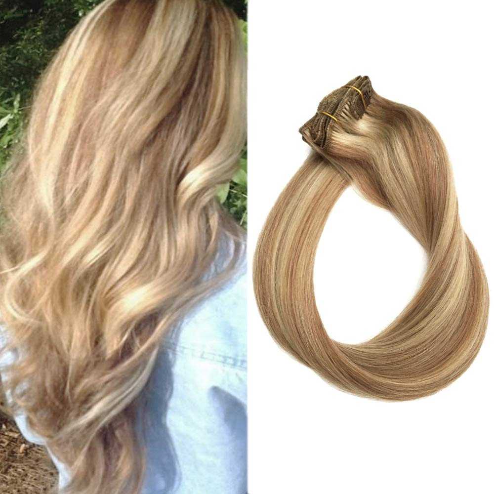 """Clip in Hair Extensions Human Hair Blonde Highlights 70grams 15"""" Short Straight Full Head Remy Clip in Balayage Extensions 7 Pieces, 12/613"""