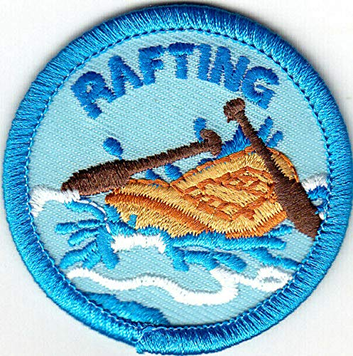 Rafting WHITE WATER RAFTING Iron On Embroidered Applique Patch//Words