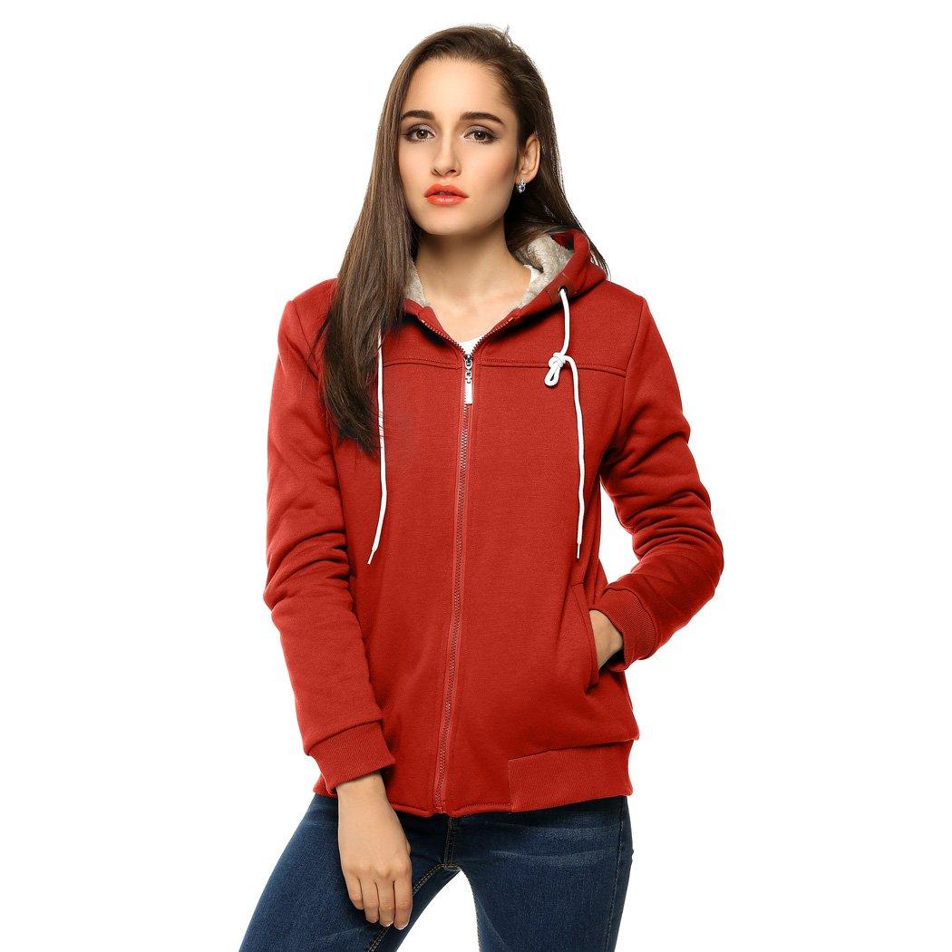 ACEVOG Women Hooded Zipper Thick Sports Slim Tops Hoodie Sweatshirt