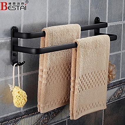 LHbox Tap El Espacio Negro de Aluminio Toallas baño Toallas de baño Doble Antique Shop Bar