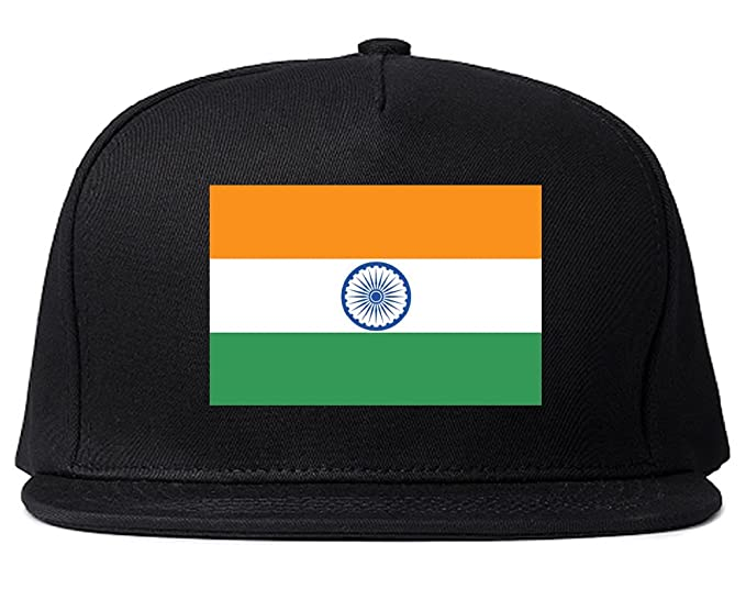 3bea66def49394 India Flag Country Printed Snapback Hat Cap Black. Roll over image to zoom  in. Kings Of NY