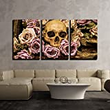 "wall26 - 3 Piece Canvas Wall Art - Still Life Painting Photography with Human Skull and Roses Background - Modern Home Decor Stretched and Framed Ready to Hang - 16""x24""x3 Panels"