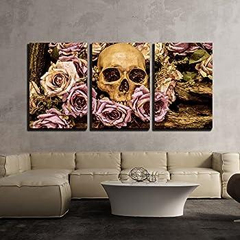 wall26 - Human Skull Roses Background - Canvas Art Wall Decor - 24