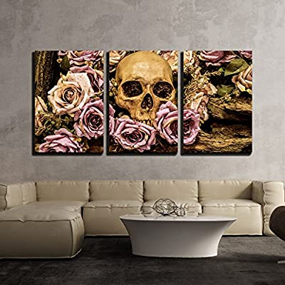 Human Skull Roses Background Wall Decor x3 Panels, Professional Creation, Fascinating Portrait