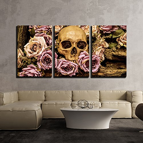 Human Skull Roses Background Wall Decor x3 Panels