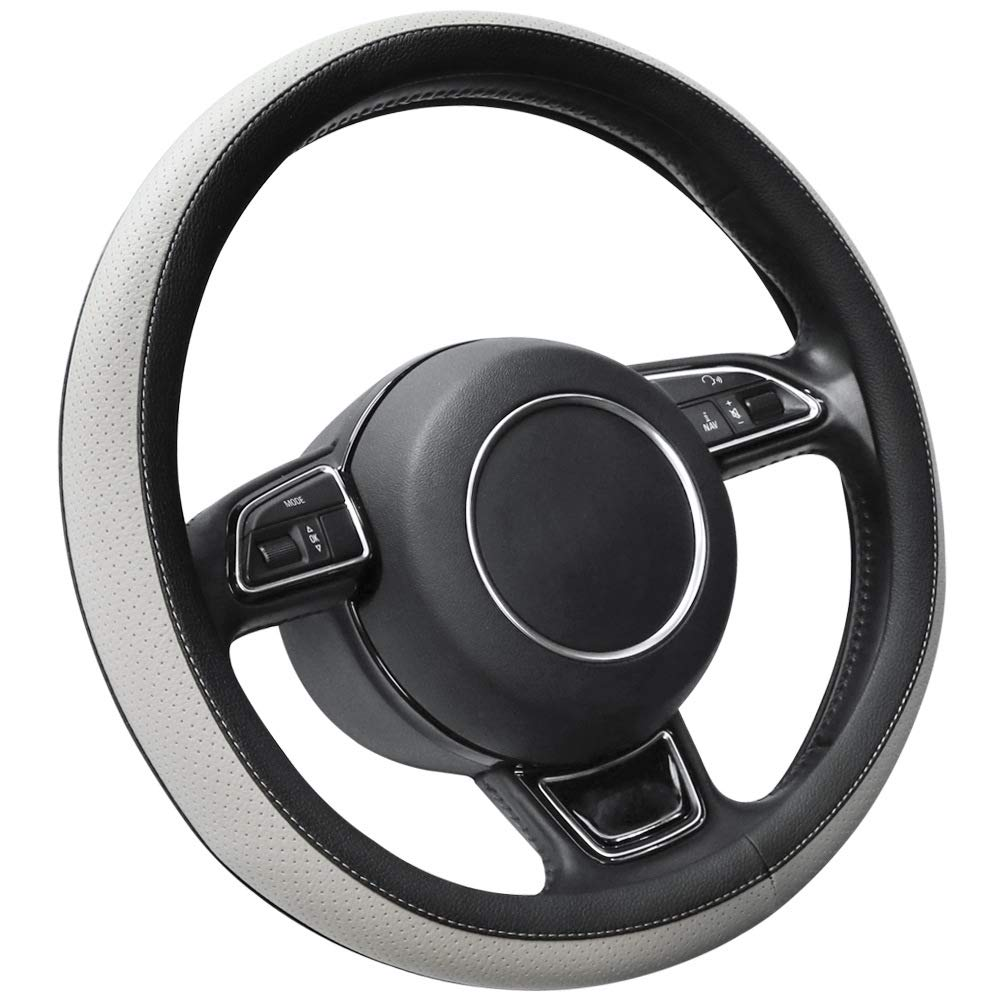 SEG Direct Microfiber Leather Grey Steering Wheel Cover for Prius Civic 14-14.25