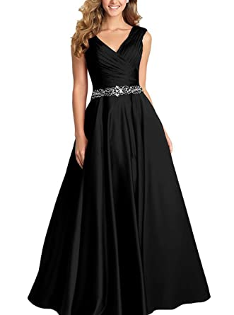 Ruiyuhong Long Satin Ruched Formal Prom Dress Evening Gowns V Neck