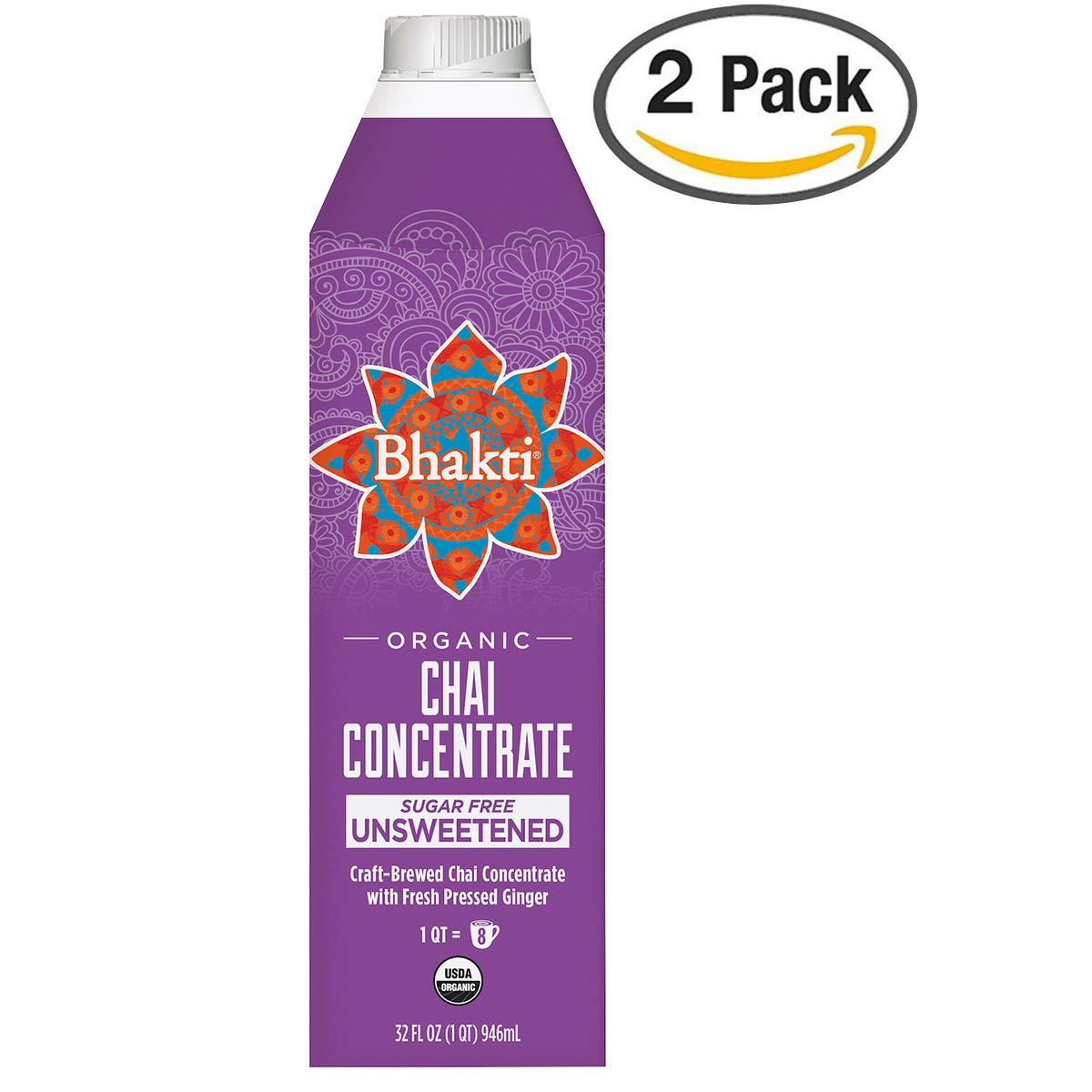 Bhakti Fair Trade Vegan Premium Chai Tea Concentrate (Unsweetened, 2-Pack) by Bhakti Chai