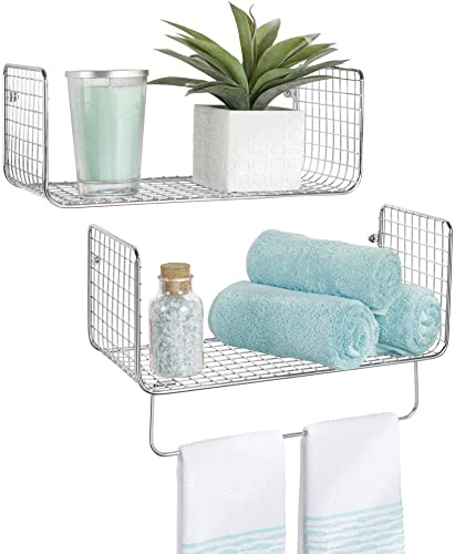 mDesign Metal Wire Farmhouse Wall Decor Storage Organizer Shelving Set – 1 Shelf with Towel Bar for Bathroom, Laundry Room, Kitchen, Garage – Wall Mount, 2 Pieces – Chrome