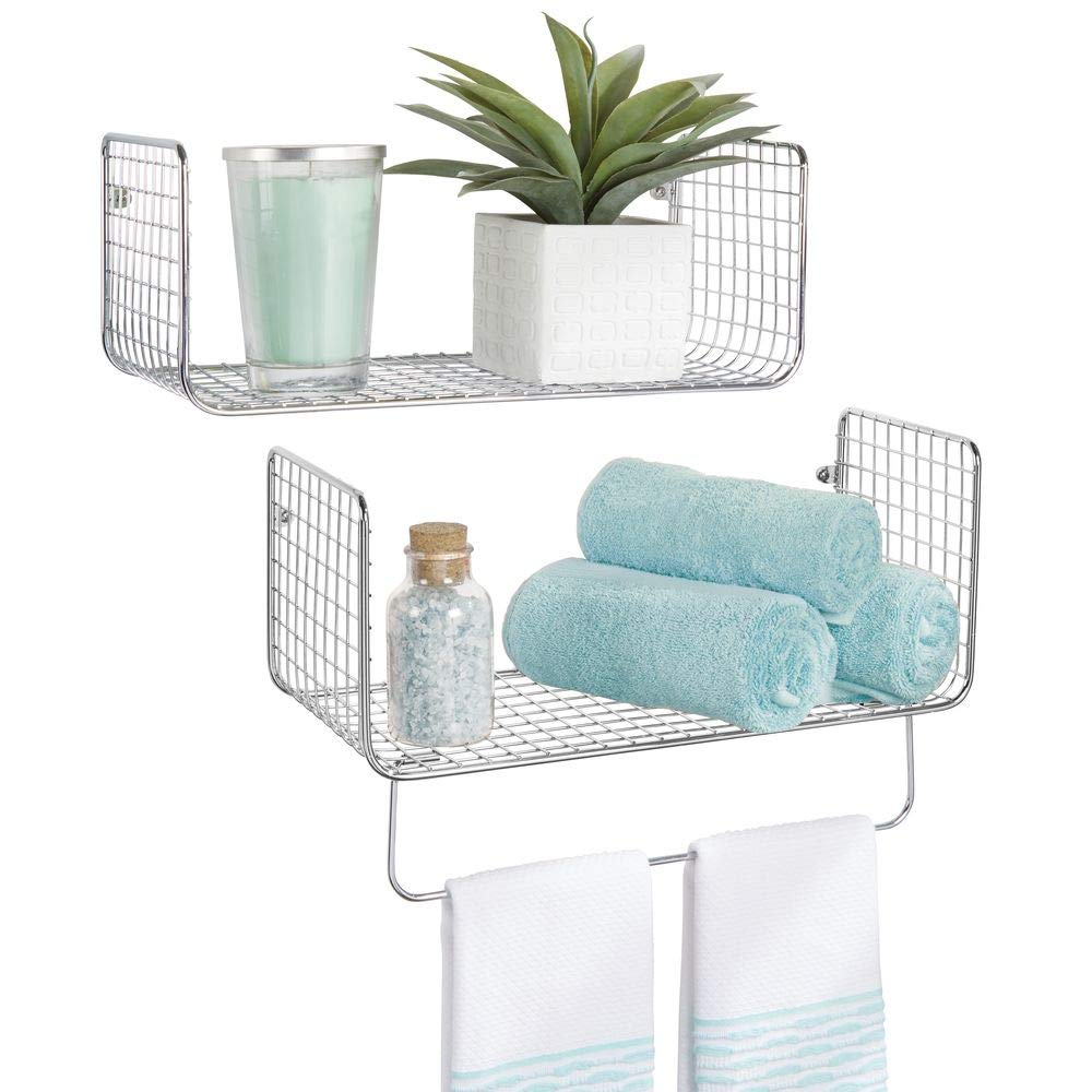 mDesign Metal Wire Farmhouse Wall Decor Storage Organizer Shelving Set - 1 Shelf with Towel Bar for Bathroom, Laundry Room, Kitchen, Garage - Wall Mount, 2 Pieces - Chrome