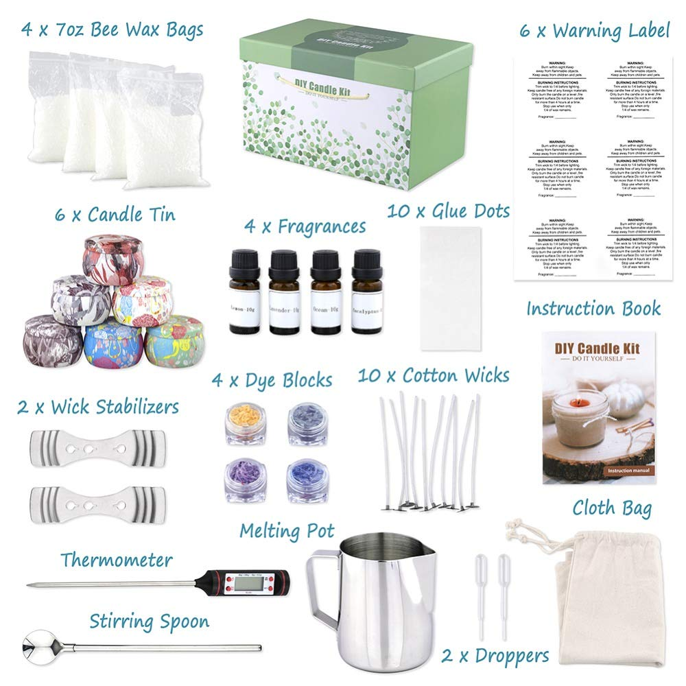 Candle Tins DIY Candle Making Set for Scented Candles Art and Craft Supplies with Bee Wax Bags Fragrance Oils Melting Pot and More DIY Candle Making Kit Supplies