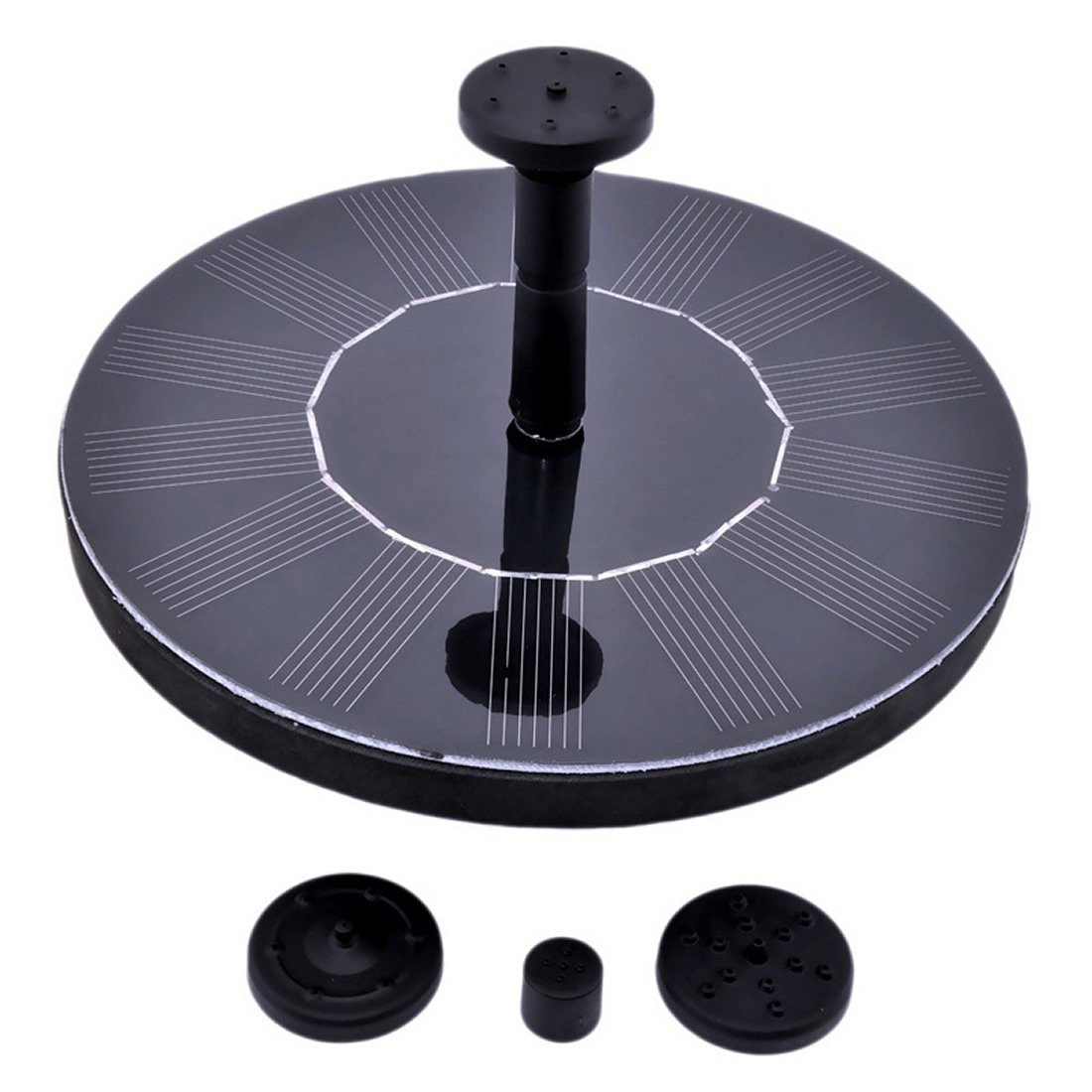 Solar Fountain Pump, 1.4W Free Standing Water Fountain Pump Kit with 4 Different Spray Heads for Bird Bath, Fish Tank, Small Pond and Garden