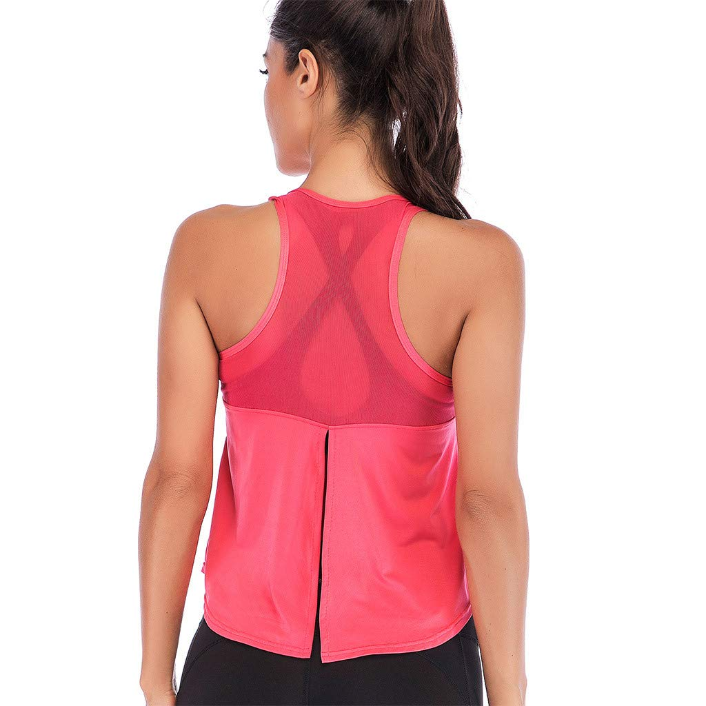 Mlide Womens Womens Summer Solid Color Shirts Sleeveless Casual Racerback Workout Tank Tops Watermelon Red by Mlide (Image #5)
