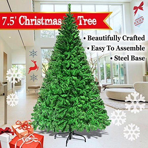 NEW 5u0027 6u0027 7u0027 7.5u0027 Green Classic Pine Christmas Tree Artificial Realistic  Natural Branches Unlit With Metal Stand (7.5u0027 Green)
