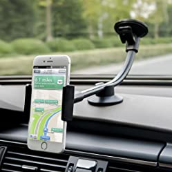 Car Mount, Long Arm Universal Windshield Dashboard Car Phone Mount Holder Cradle includ 2 Sizes Holders for iphone 6 6s Plus,Samsung Galaxy,HTC,LG,GPS Etc - by Newward