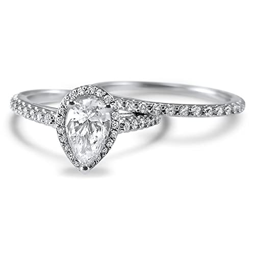 Amazon.com: Pear shape halo Diamond and Moissanite engagement ring ...