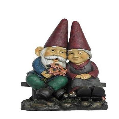 Hi-Line Gift Ltd Garden Gnome Old Couple Holding Flower Statue on Bench, 17-Inch : Garden & Outdoor