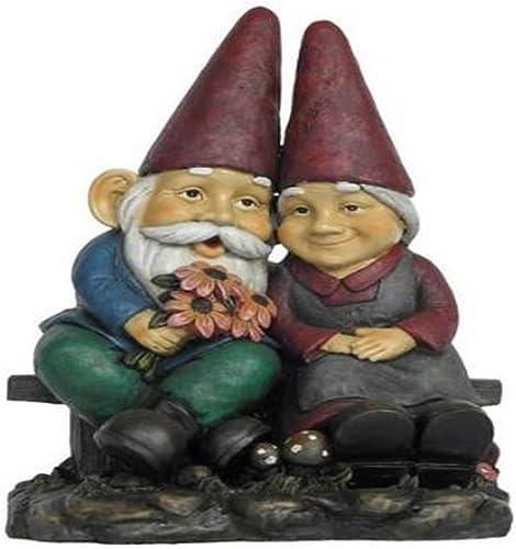 Hi-Line Gift Ltd Garden Gnome Old Couple Holding Flower Statue on Bench