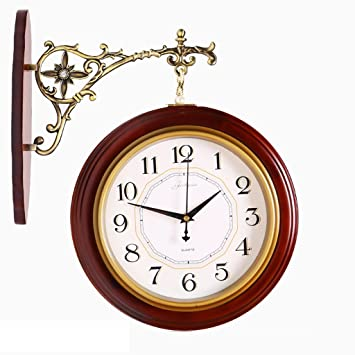 9dc2c3445f6 LightSeiEU Double-face Horloge Bois Horloge murale Montre mur Minimaliste  Salon de style européen horloge