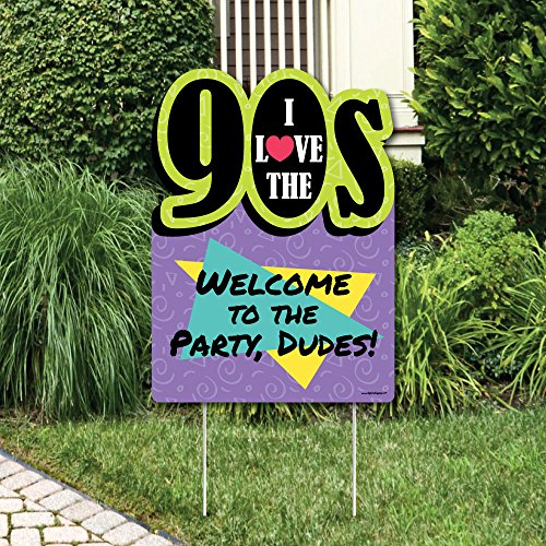 (Big Dot of Happiness 90's Throwback - Party Decorations - 1990s Party Welcome Yard Sign)