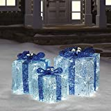 Hanukkah Gift Boxes with Lights in Blue/White perfect for indoor or outdoor use