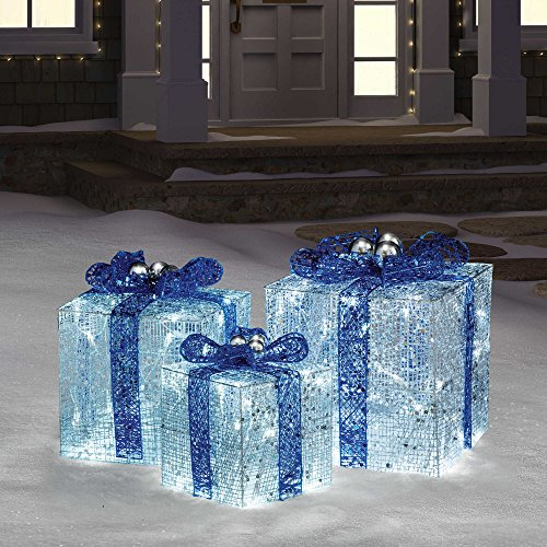 Hanukkah Gift Boxes with Lights in Blue/White perfect for indoor or outdoor use by MMOYT