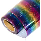 "HOHOFILM Holographic Stripe Multi Heat Transfer Vinyl Iron-on HTV Press Paper Sheet for Garment T-Shirt 20""x12"""