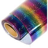 HOHO Holographic Stripe Multi Heat Transfer Vinyl Iron-on HTV Press Paper Sheet for Garment T-shirt 50cm x 30cm
