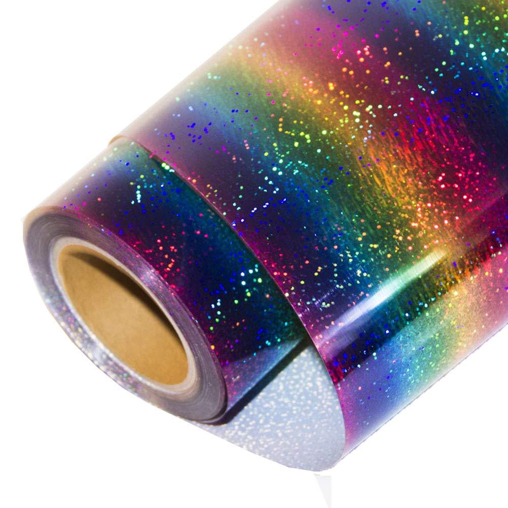 HOHOFILM Rainbow Heat Transfer Vinyl Holographic PU HTV Heat Press T-shirt Vinyl