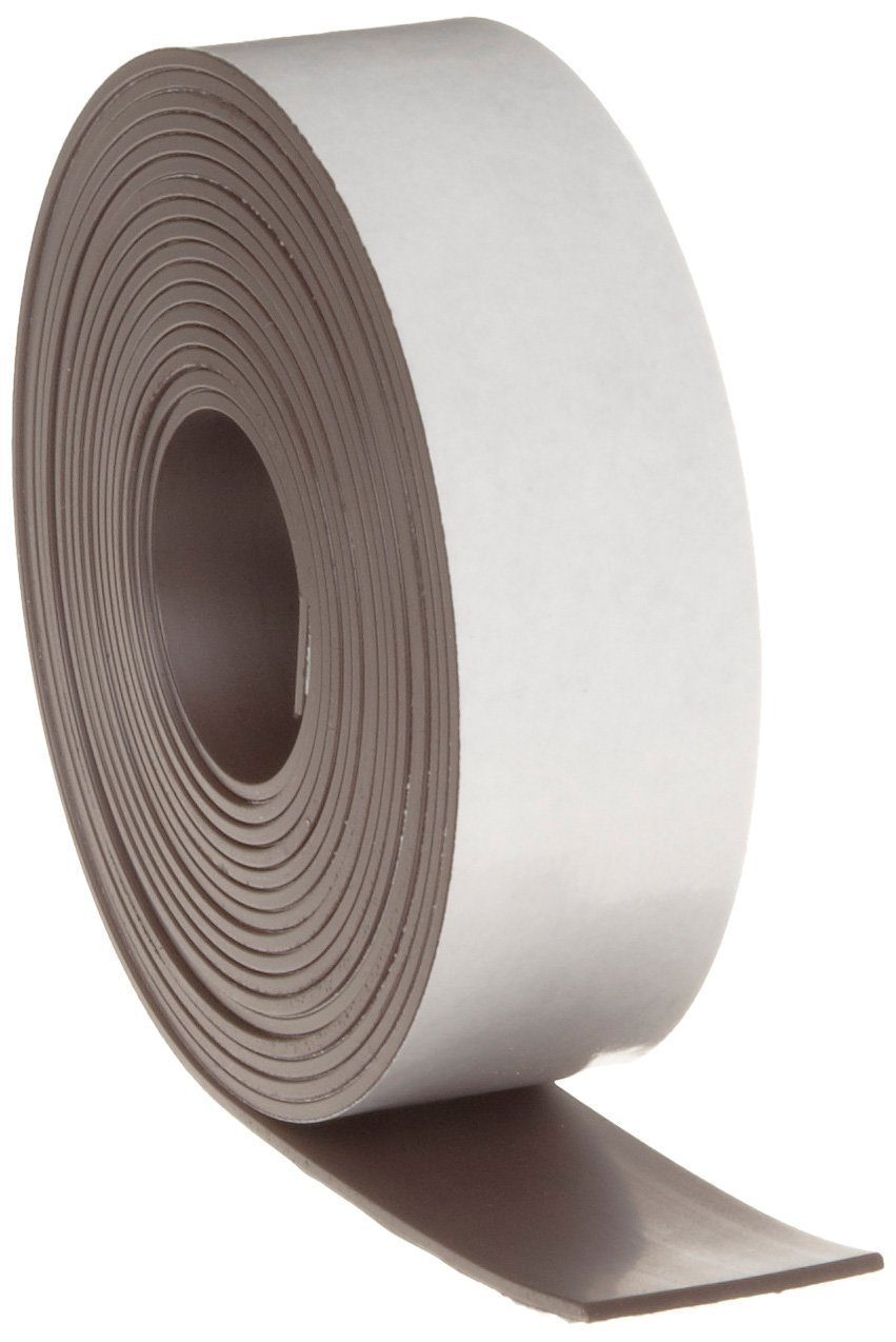 Flexible Magnets New Adhesive Magnetic Strip - 2'' wide x 100 feet - 1/16'' thick - VERY STRONG!