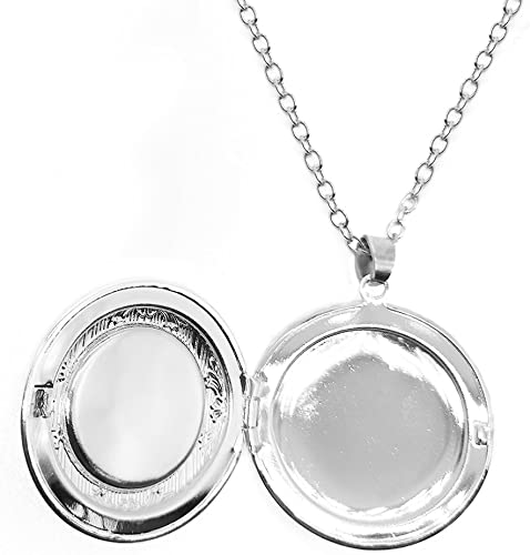 Womens Custom Locket Closure Pendant Necklace Retro Clock Included Free Silver Chain Best Gift Set