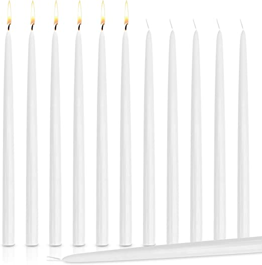 White 15 inches Tall Drippless Taper Candles Wedding Dinner Candle Set Of 12