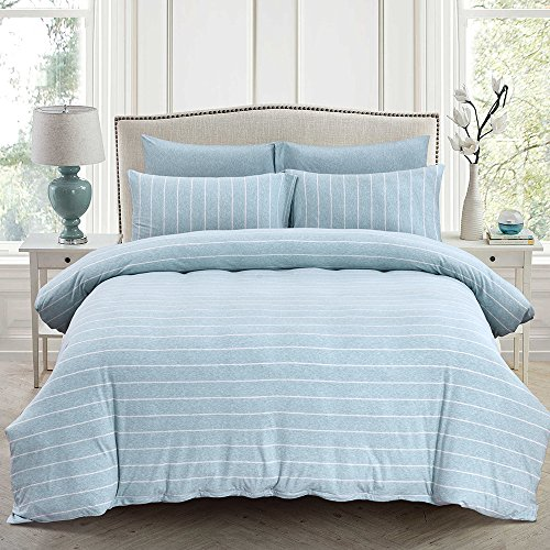 PURE ERA Duvet Cover Set Jersey Knit Cotton Wide Stripe Zippered Ultra Soft Comfy Breathable Green Mint Queen