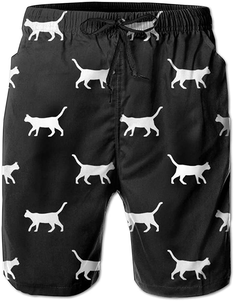 Black Cat Silhouette Mens Printing Quick Dry Beach Board Shorts Swim Trunks