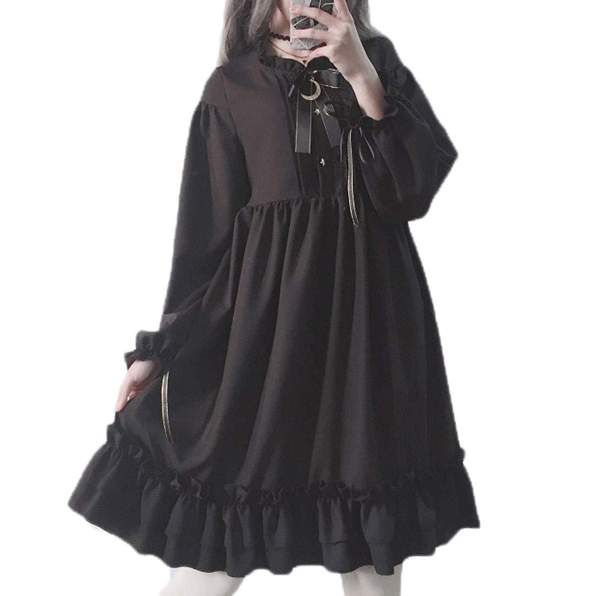 8411dc0f15109 Packitcute Long Sleeve Dress Teen Girls Japanese Gothic Lolita Dress